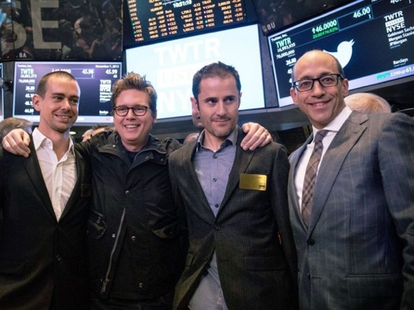 (L-R) Twitter co-founder Jack Dorsey, Twitter co-founder Biz Stone, Twitter co-founder Evan Williams and Twitter CEO Dick Costolo in Wall Street IPO day_7-nov_AFP photo