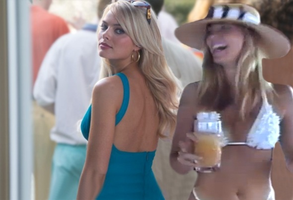Margot Robbie in The Wolf of Wall Street, left, and Nadine Caridi_Wolf of Wall Street_Paramount Pictures
