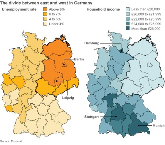 East & West Germany unemployment rate and household income 2012